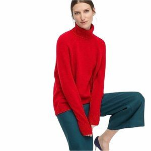 NWT J Crew Factory Wool Blend Red Turtleneck M